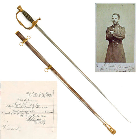 Original U.S. Model 1860 Staff and Field Officer Sword Named to Major Charles Jarvis 9th Vermont Infantry with Documents Original Items