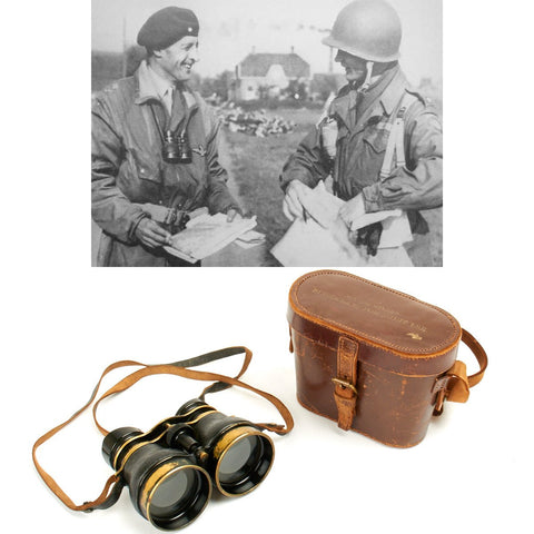 Original British WWII Husun Pilot 6E-338 Night Use Binoculars in Original Case Original Items