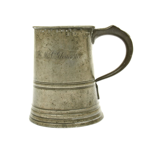 Original British 19th Century Pewter Quart Tankard from HMS Gloucester