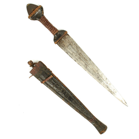 Original 1880 Sudanese Mahdi Dervish Arm Dagger with Leather Scabbard