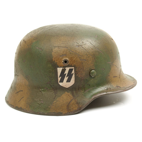 Original German WWII M40 Refurbished SS Falaise Gap Helmet - Stamped EF66