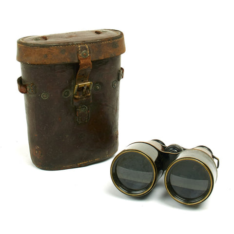Original British WWI Officer Field Glasses with Leather Case Dated 1917