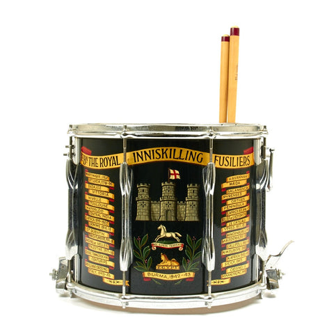 Original British Royal Inniskilling Fusiliers Regimental Side Drum with Sticks