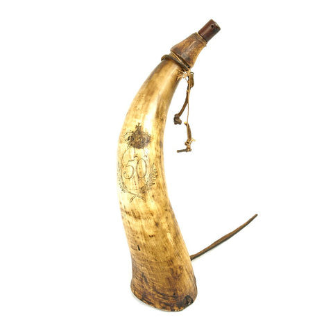 Original Napoleonic Wars British Powder Horn of the 50th Regiment of Foot