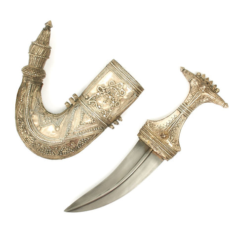Original 1850 Arabian Jambia Dagger Adorned in Silver