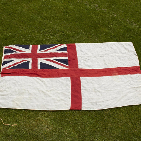 Original British WWII D-Day Landing White Ensign Battle Flag of the HMS Rodney Dated 1944 Original Items