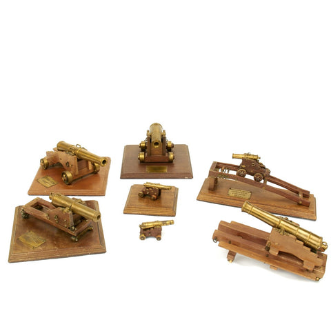 French Napoleonic Model Brass Cannon Museum Collection - Seven Pieces
