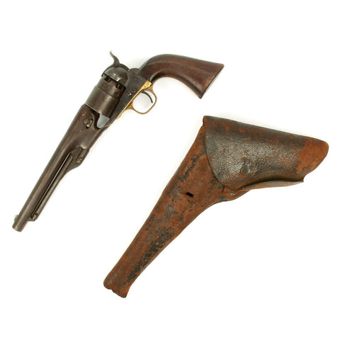 Original U.S. Civil War Colt Model 1860 Army Revolver Manufactured in 1862 - Matching Serial No 52100 - with Holster