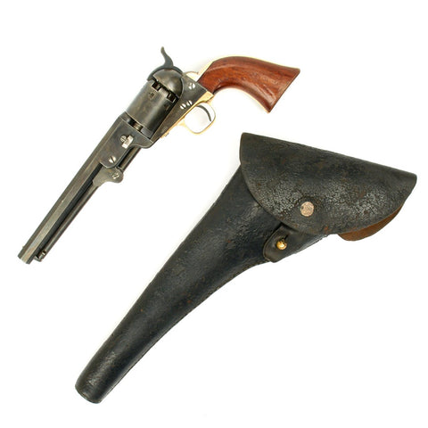 Original U.S. Civil War Colt 1851 Navy .36 Caliber Pistol Matching Serial No 96664 with Leather Holster - Manufactured 1860