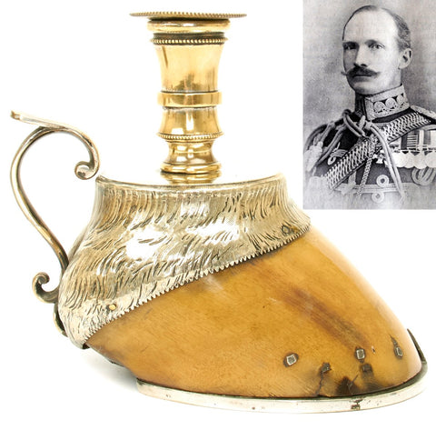 Original British 1898 Battle of Omdurman 21st Lancers Named Horse Hoof Silver Candlestick