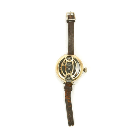 Original British WWI Officer's Trench Wrist Watch by Ingersoll with Dial Guard - Fully Functional