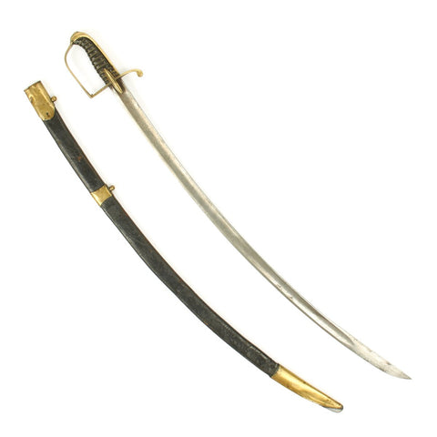 Original Napoleonic French Dragoon Sword with Capture Inscription - Battle of Waterloo in 1815