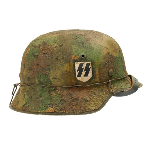 Original German WWII M42 Refurbished 1SS Leibstandarte Southern Front Helmet  - Stamped hkp66