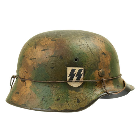 "Original German WWII M40 Refurbished 9th SS Panzer Division ""Hohenstaufen"" Helmet - Stamped EF66"