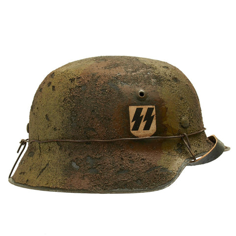 Original German WWII M42 Textured Camo II SS Panzer Corps Helmet - Stamped hkp66 Original Items