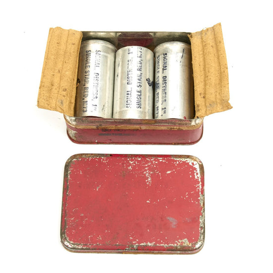 Original U.S. WWII 1 Inch Single Star Red Distress Flare Set- Inert Original Items