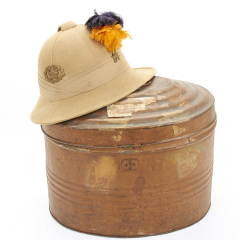 British WWII British Lancashire Fusiliers Wolseley Pattern Foreign Service Helmet with Tin Transit Chest
