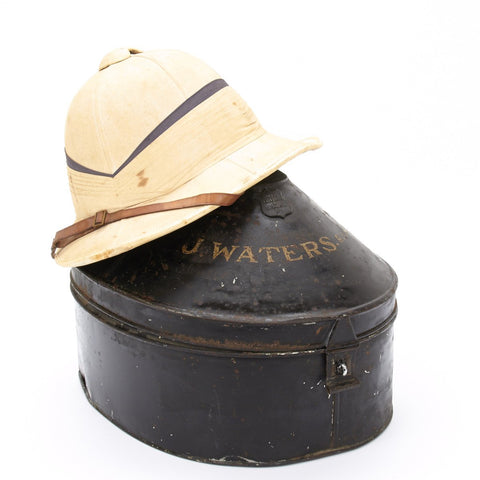 Original British WWII Named Officer Pith Helmet in Transit Tin