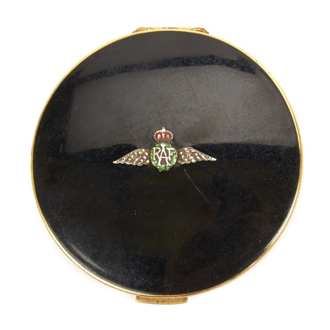 Original British WWII Royal Air Force Sweet Heart Round Enamel Compact with Mirror