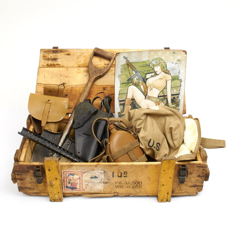 Trunk of Assorted Grade 2 Original Military Antiques and Reproductions Original Items