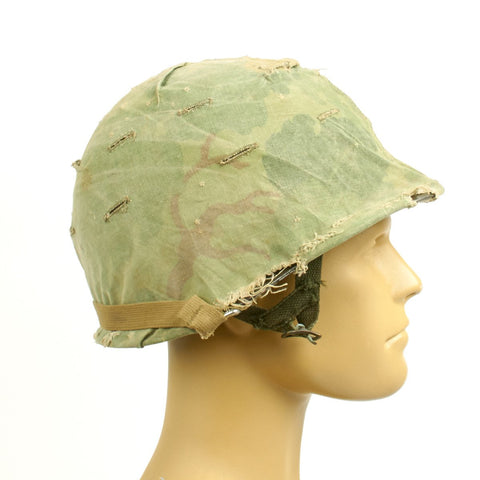 Original U.S. WWII Vietnam War Early M1 Helmet with 1959 Dated USMC Cover Original Items