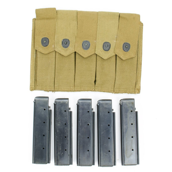 Thompson WWII Original Pouch with Five 20 Round Seymour Magazines