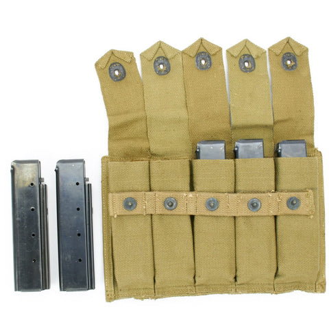 Thompson WWII Original Pouch with Five 20 Round Auto Ordnance Magazines