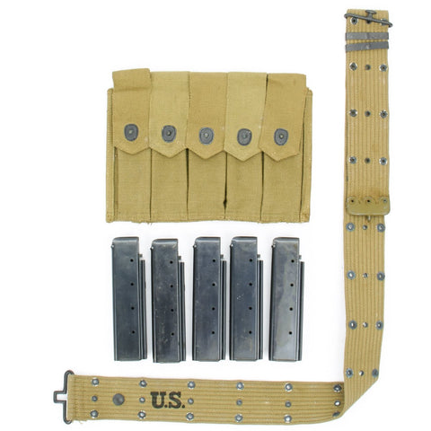 Original U.S. WWII Thompson SMG Infantry Set- Five 20 Round Auto Ordnance Magazines with Pouch & Belt Original Items