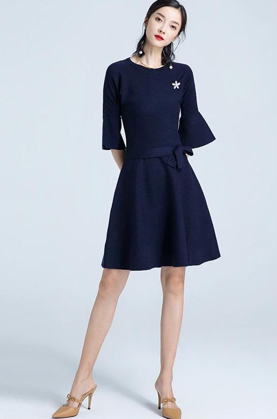 Lula Dress  (Navy) (Non-Returnable)