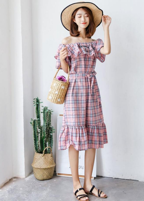 Remi Checkered Dress (Pink)