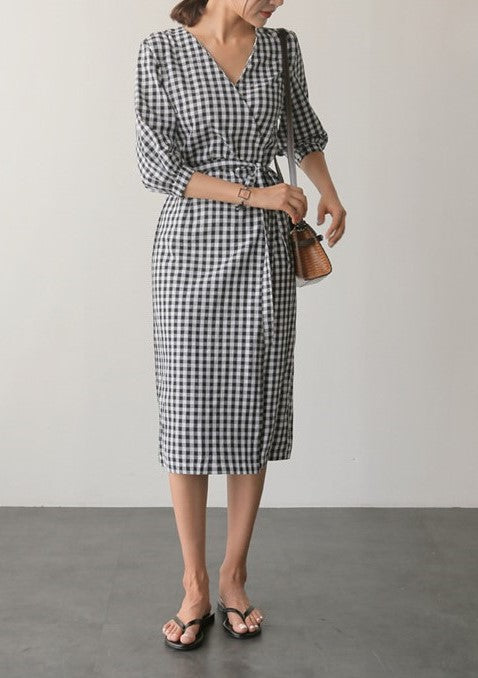 Kelly Checkered Dress (Black)