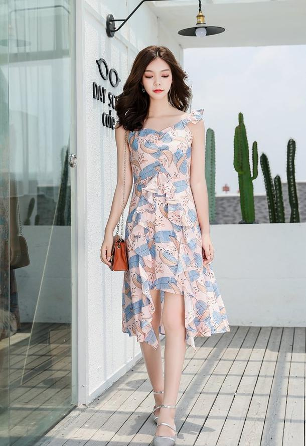 Gwen Printed Dress (Light Blue)