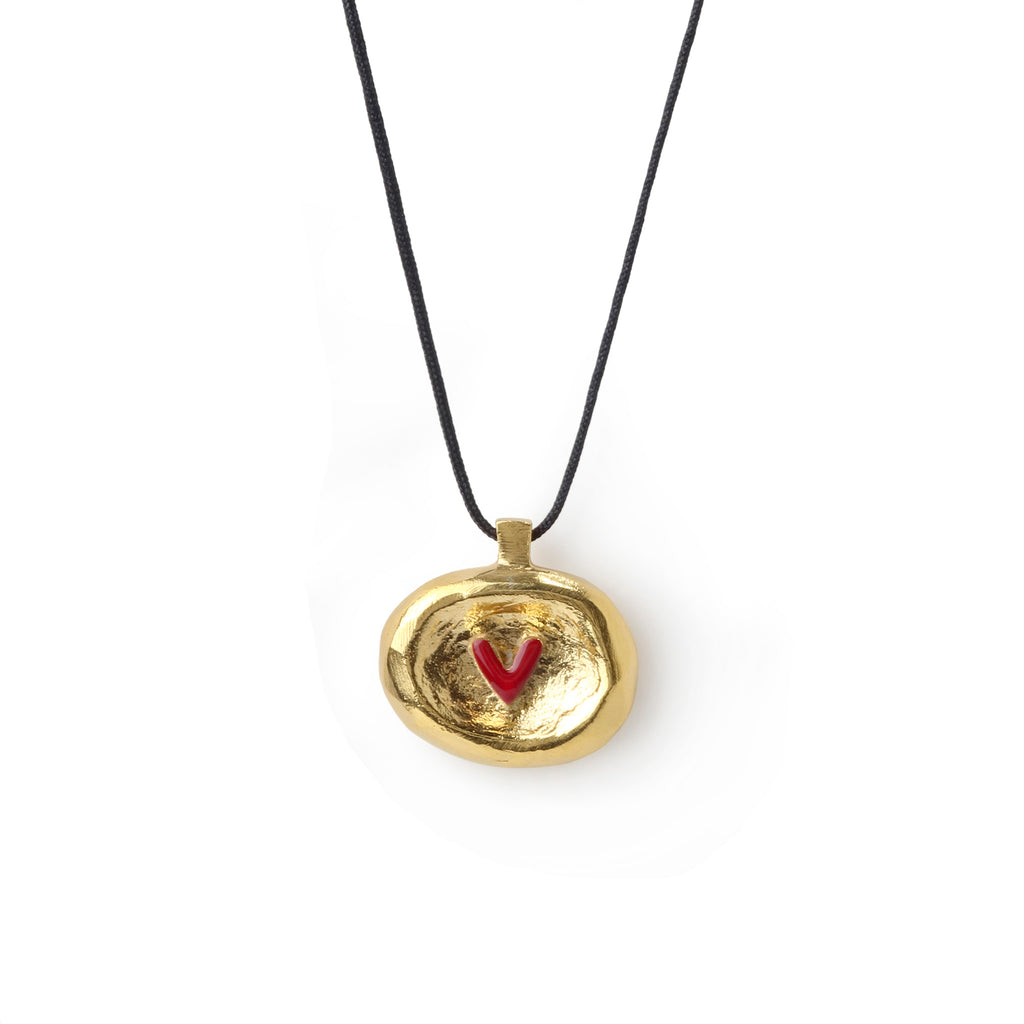 Gold Plated Silver Pendant With Heart