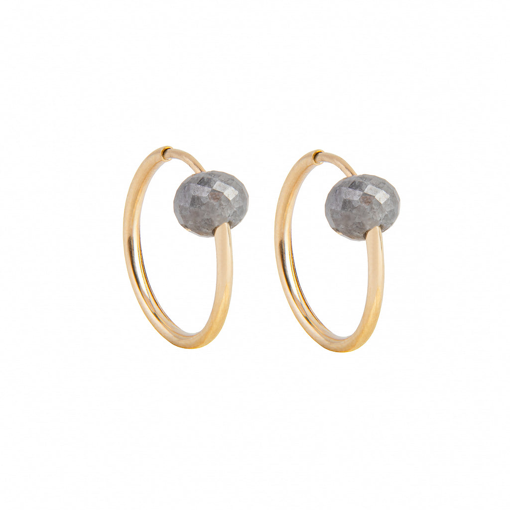 14k Small Gold Hoops with Grey Diamonds