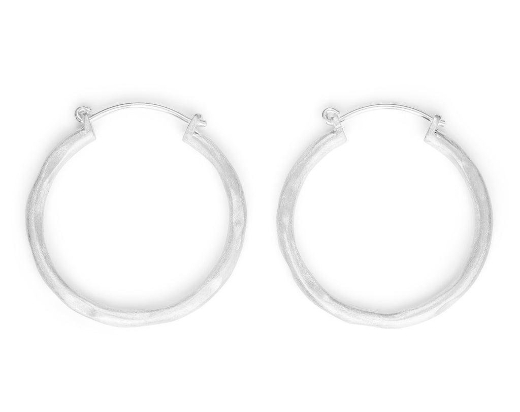 Silver Large Round Hoops