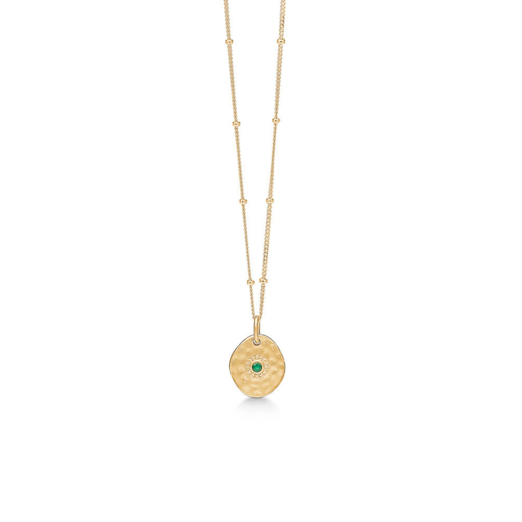 "Gold Plated Silver Necklace ""Esma"" with Green Agate"