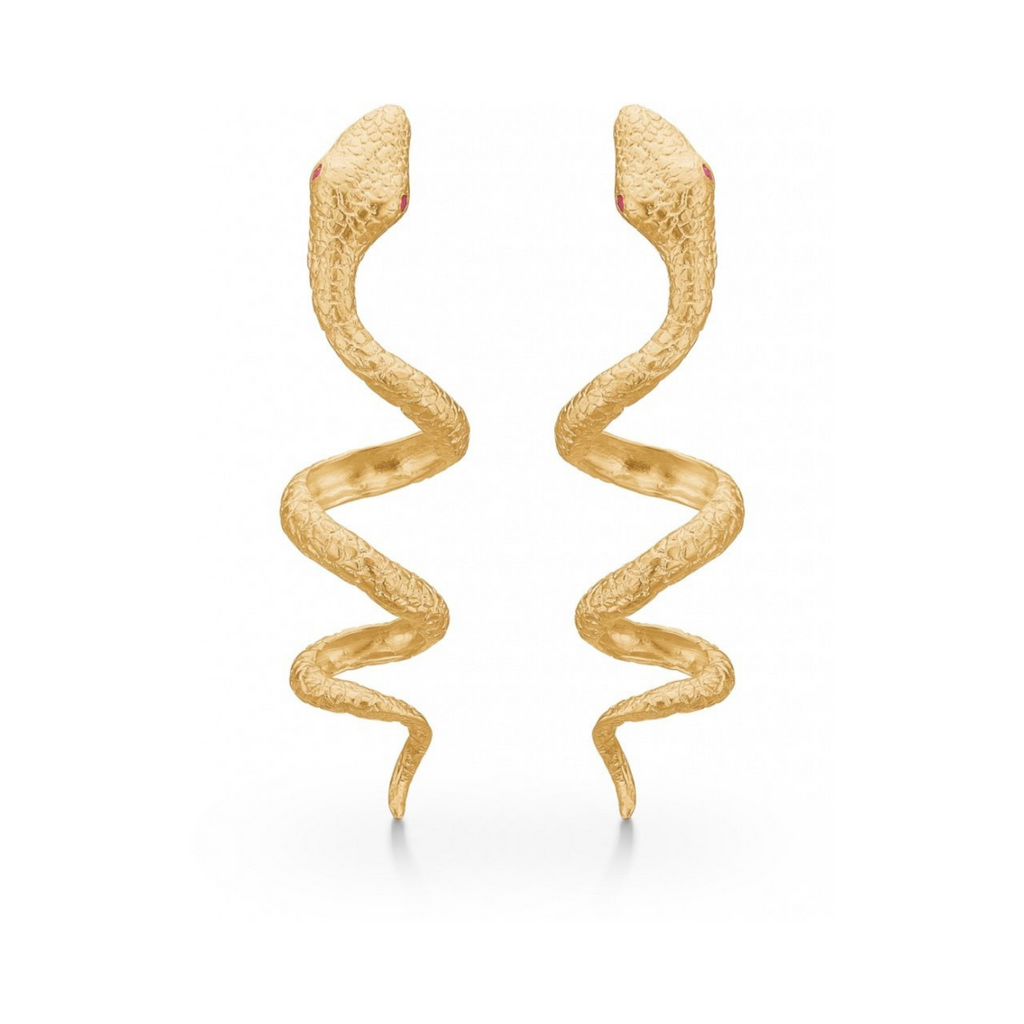 "Gold Plated Silver Earrings ""Snake"""