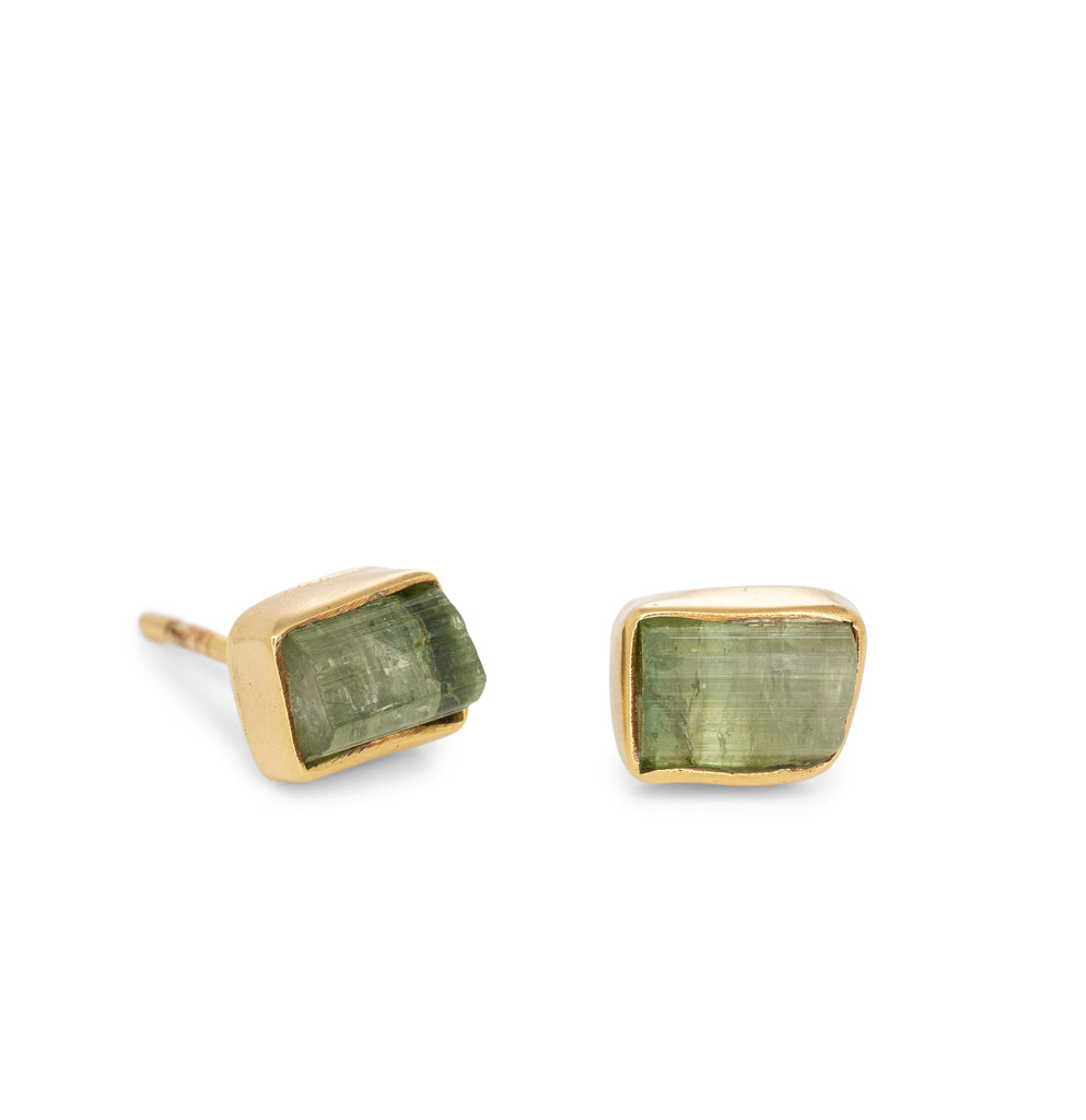 Beneath The Sea Green Tourmaline Studs