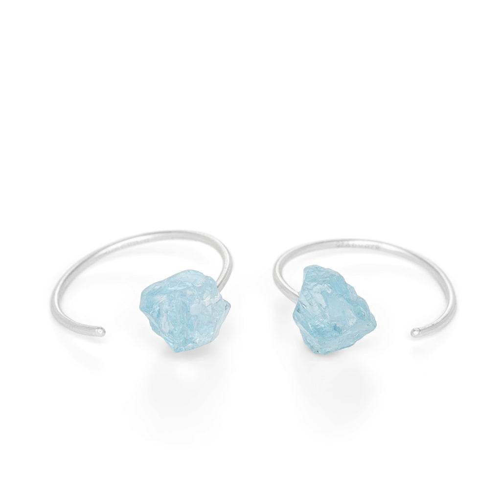 Crystalline Rainbows Hoops with Blue Topaz