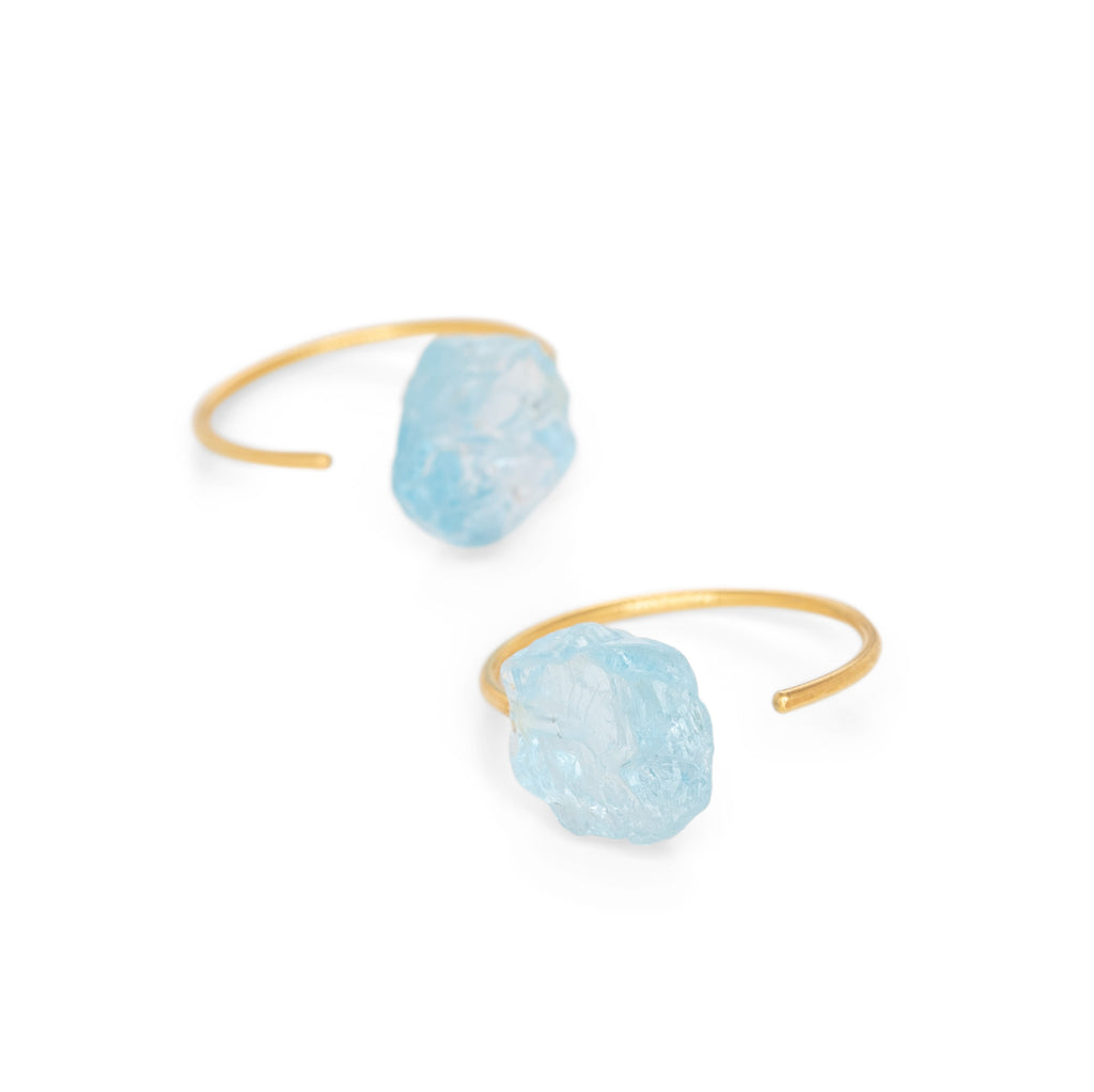 Gold Plated Crystalline Rainbows Hoops with Blue Topaz