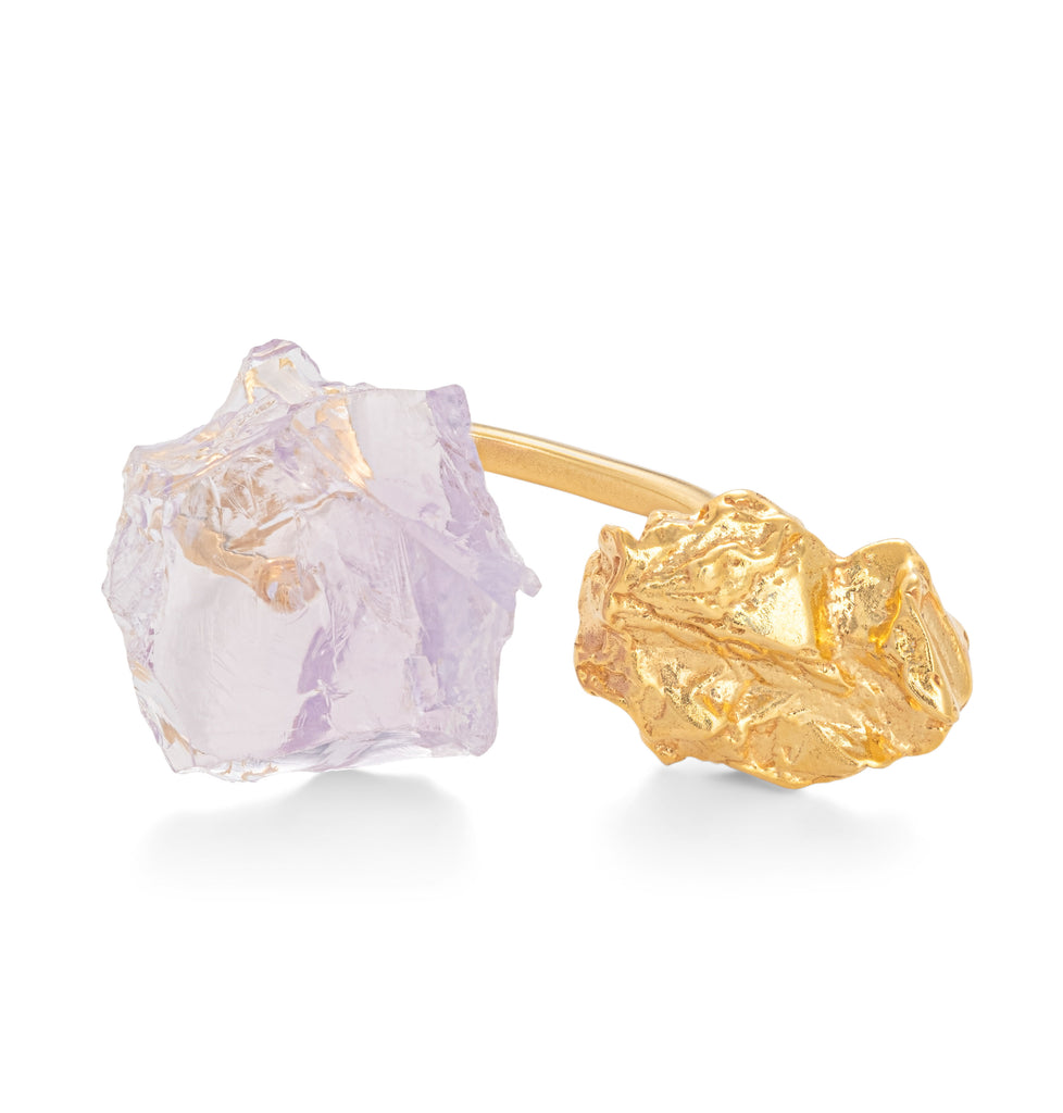 The Wild Flower Ring with Lavander Quartz