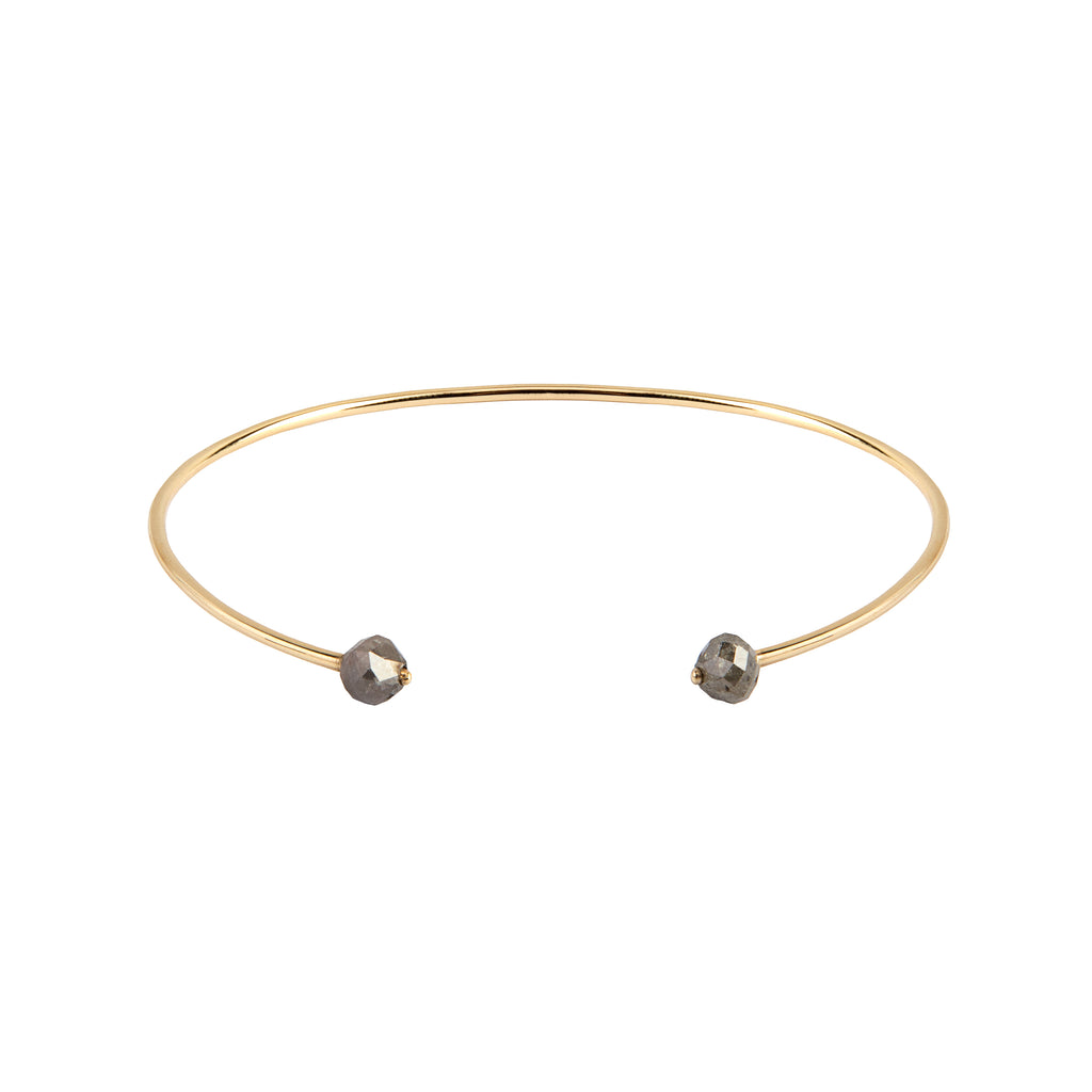 14K Gold Bangle with Grey Diamonds