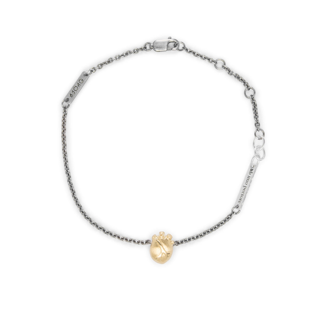 Small Gold Anatomic Heart Bracelet with Ruthenium Chain