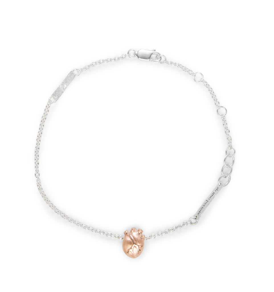 Small Rose Gold Anatomic Heart Bracelet