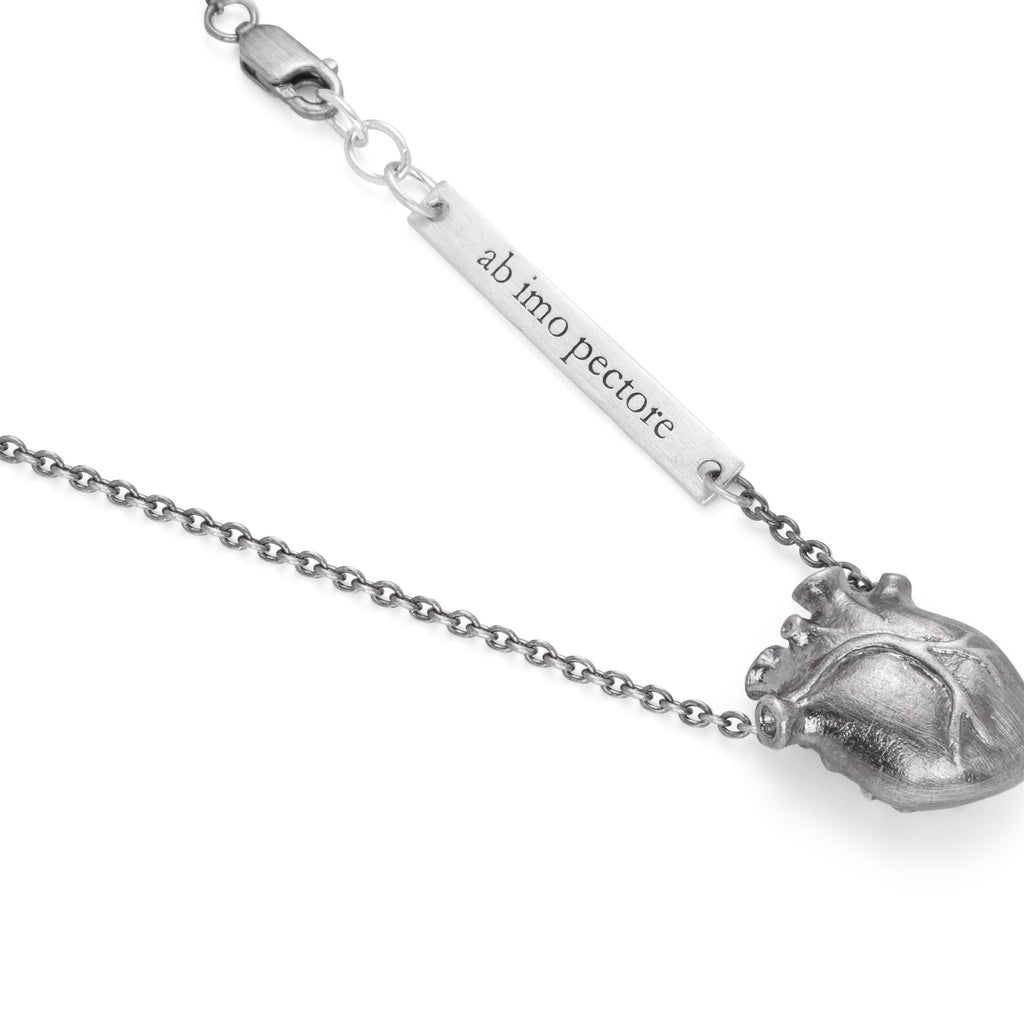 Black Medium Anatomic Heart Necklace