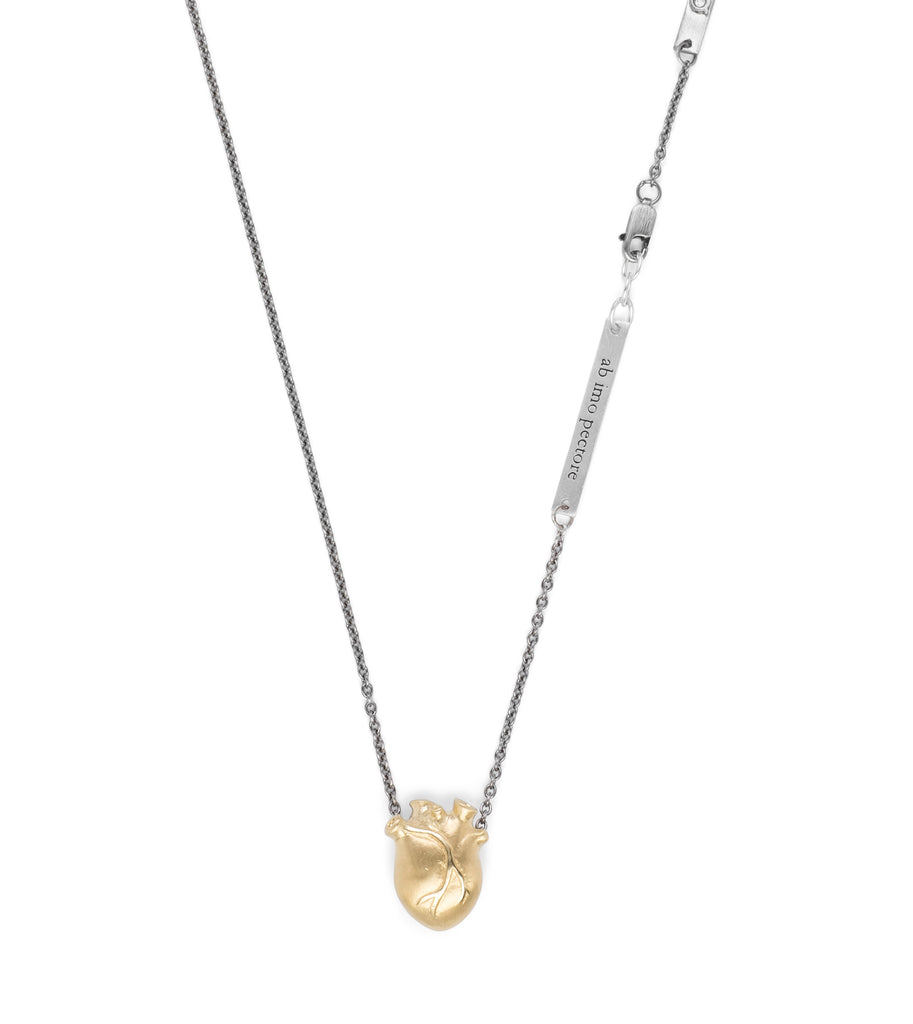 Small Gold Anatomic Heart Necklace with Oxidised Silver Chain
