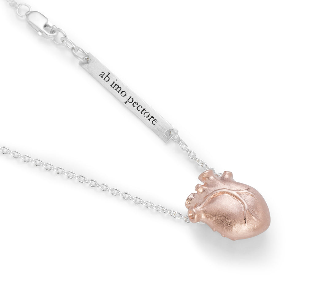 Small Rosegold Anatomic Heart Necklace with Silver chain