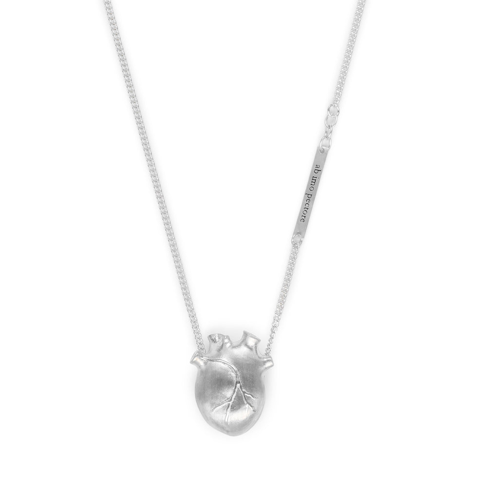 Silver Medium Anatomic Heart Necklace