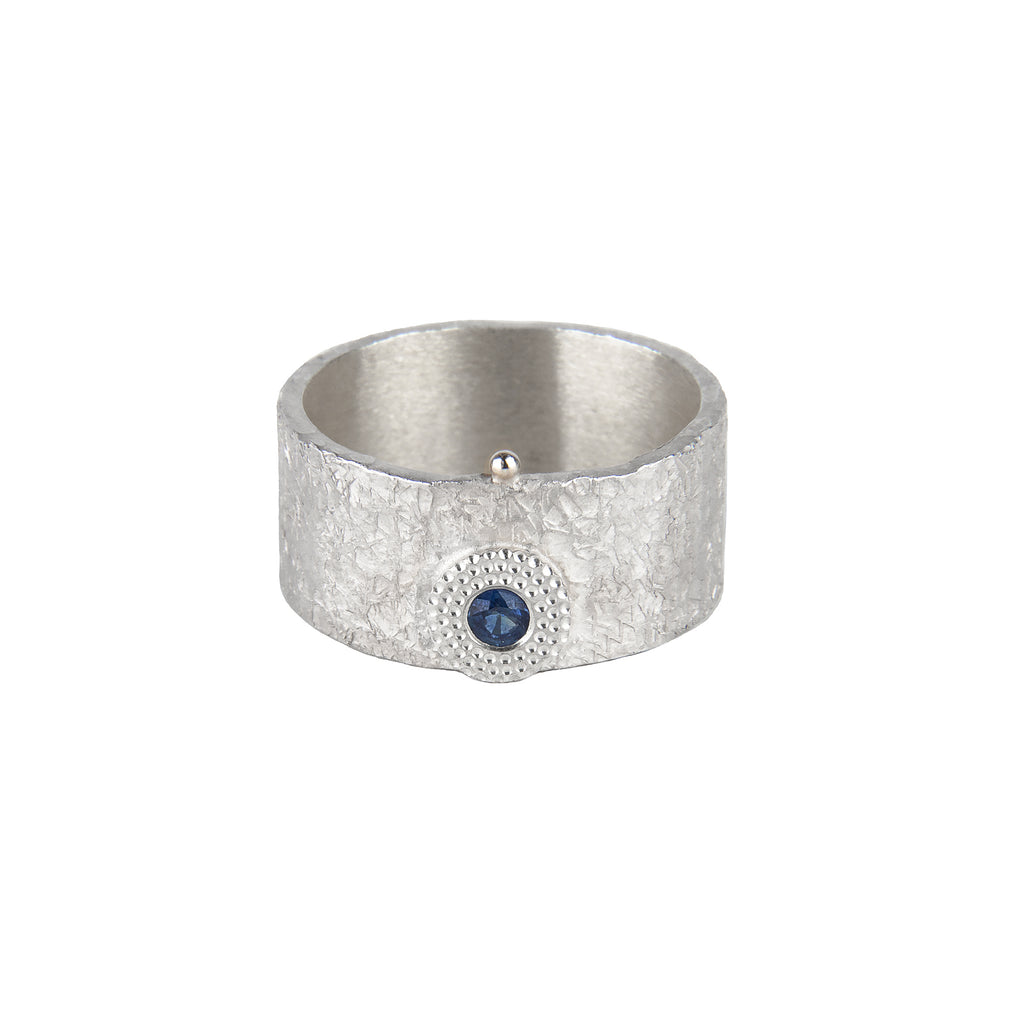 Silver Sapphire Ring with Gold Bubble