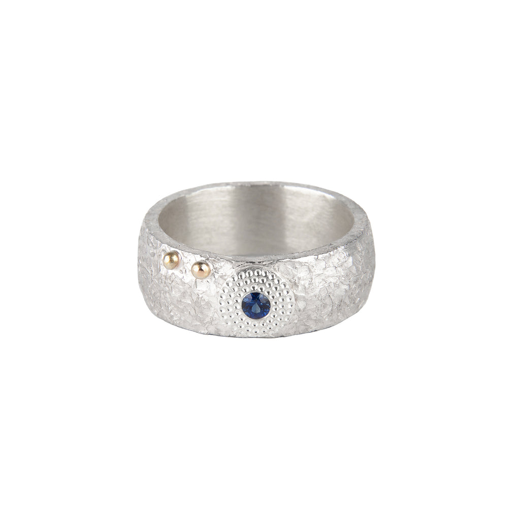 Silver Sapphire Ring with Gold Bubbles